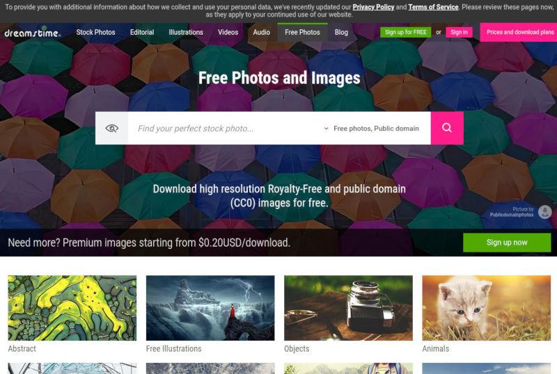 dreamstime gratis stock foto's schermafbeelding