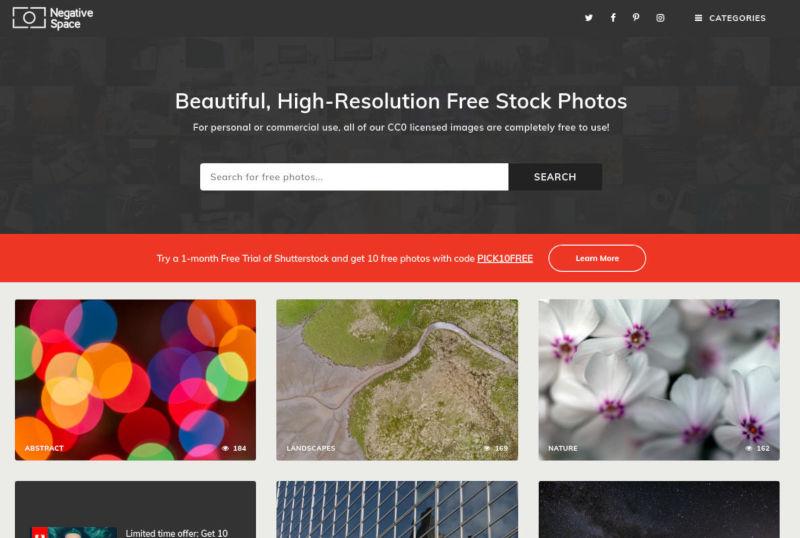 negative space stock foto's schermafbeelding