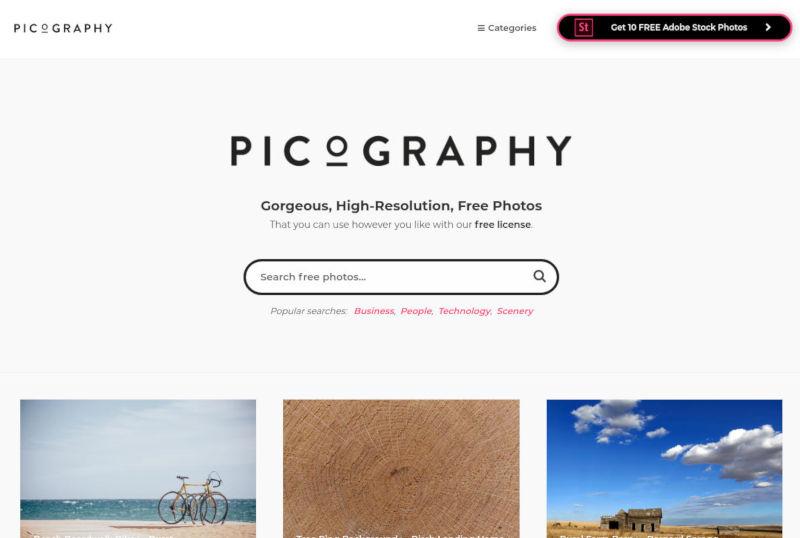 picography gratis stockfoto's schermafbeelding