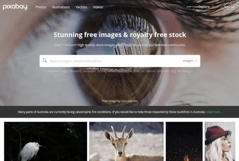 pixabay website voor gratis stockfoto's schermafbeelding