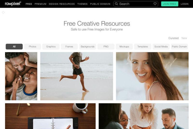 rawpixel stock foto's schermafbeelding