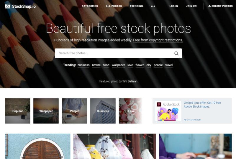 stocksnap gratis stockfoto's schermafbeelding